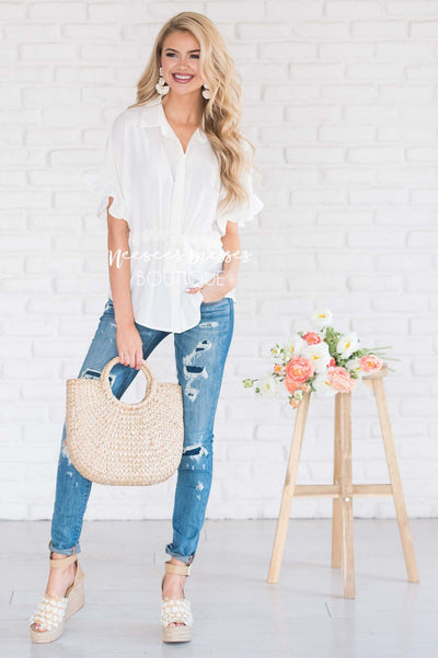 Button Up Cinched Waist Blouse Tops vendor-unknown