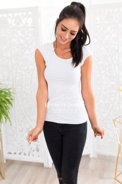 Cap Sleeve Modest Layering Tee Tops vendor-unknown