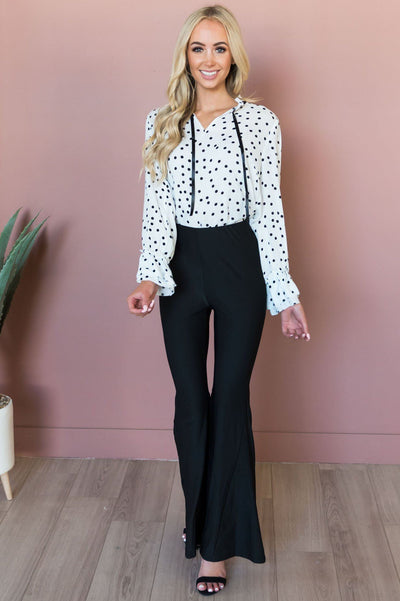 Pretty Charming Modest Flare Pants Tops vendor-unknown
