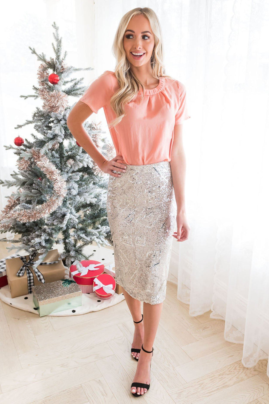 The Count Down Modest Sequin Skirt