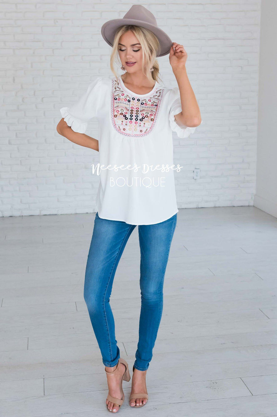 Let's Be Happy Embroidered Top