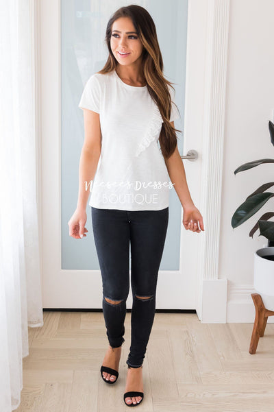 Summer Bliss Modest Ruffle Tee Tops vendor-unknown