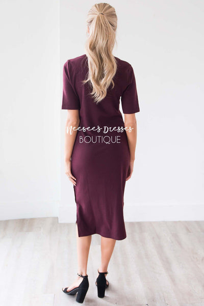 The Rosemary Button Detail Dress Modest Dresses vendor-unknown