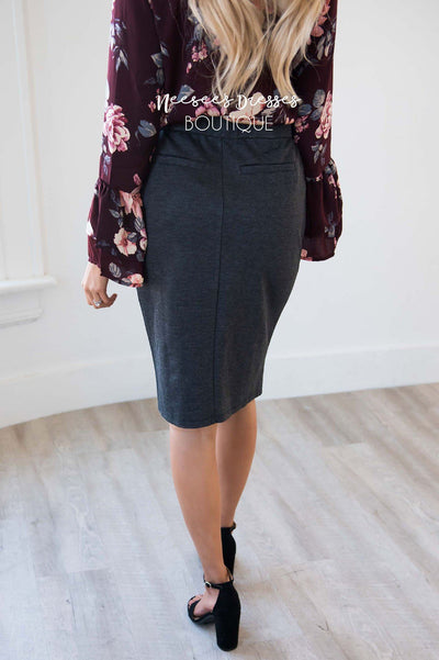 Choose To Charm Zipper Pocket Pencil Skirt