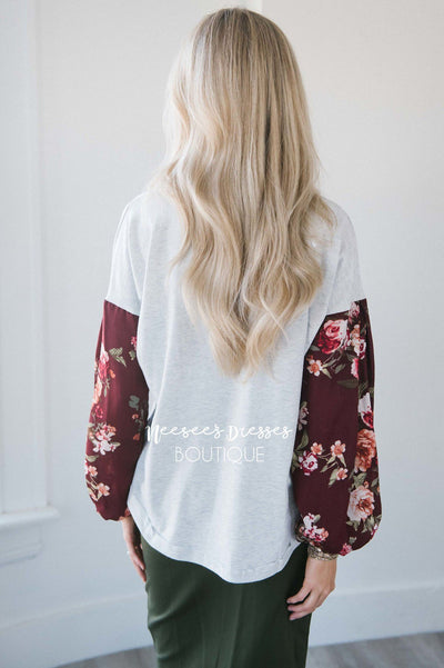 Chiffon Floral Bubble Sleeve Sweater Tops vendor-unknown