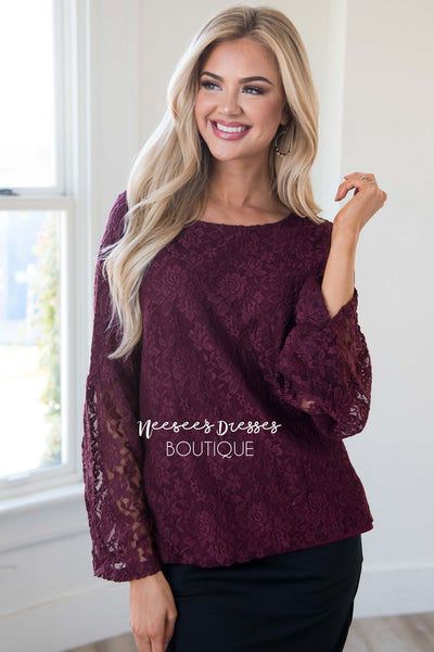 Love Buzz Lace Bell Sleeve Blouse Tops vendor-unknown