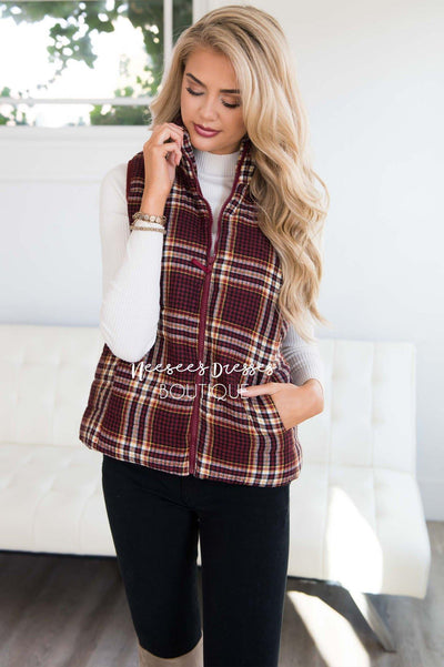 Winter Wishes Plaid Vest Tops vendor-unknown