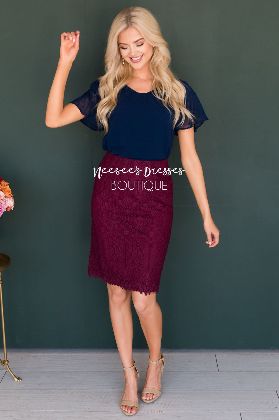 Lovely Wine Lace Pencil Skirt Skirts vendor-unknown