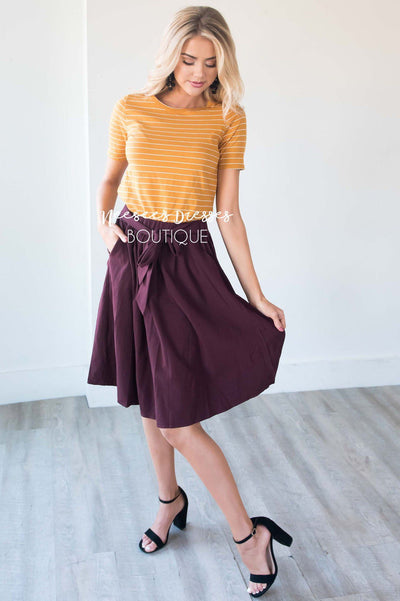 Merlot Tie Waist Skirt Skirts vendor-unknown