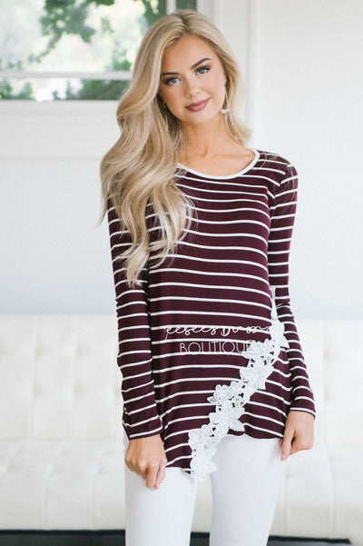 Lovely in Lace Striped Thermal Top Tops vendor-unknown
