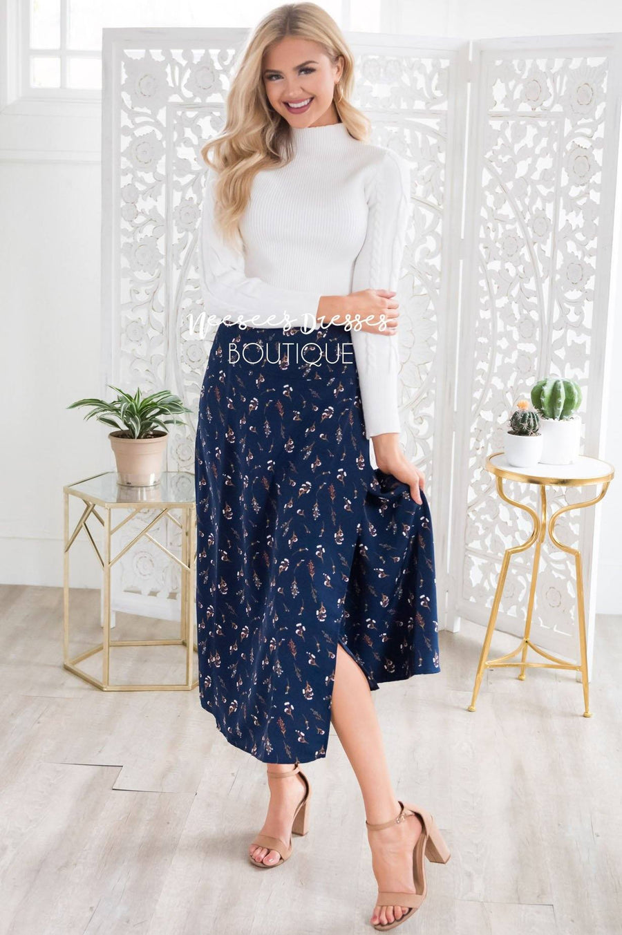 Winter Flowers Wrap Skirt