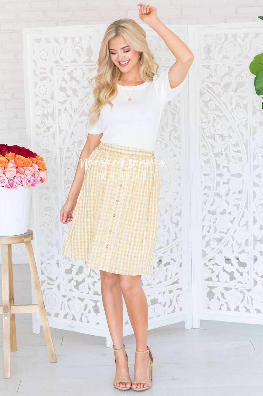 Smiles Ahead Daisy Gingham Skirt