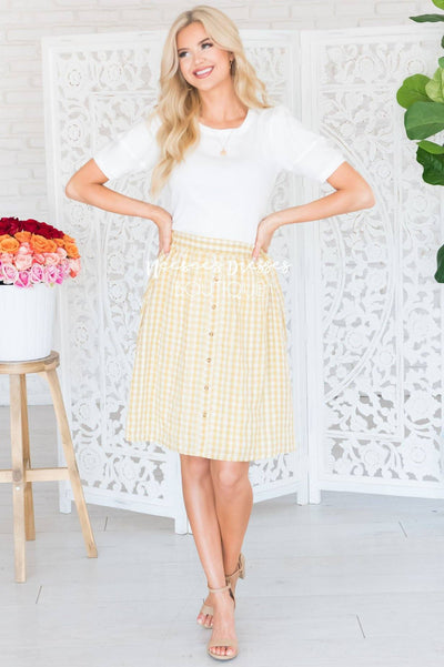 Smiles Ahead Daisy Gingham Skirt Skirts vendor-unknown