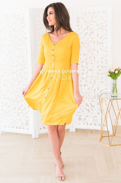 The Gina Button Front Dress Modest Dresses vendor-unknown