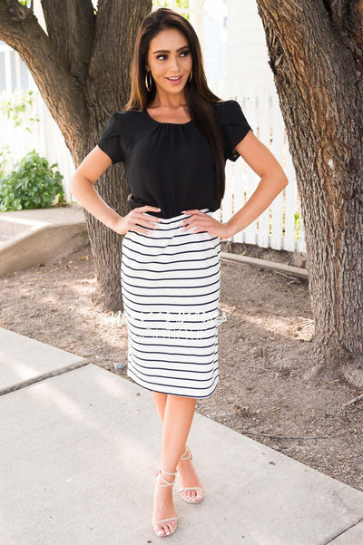 Yesterday Memories Striped Pencil Skirt Skirts vendor-unknown