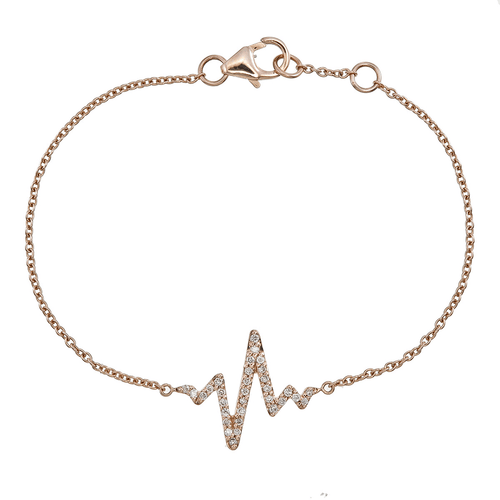Rose Gold Diamond Heartbeat Bracelet
