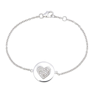 GOLD DISC DIAMOND HEART BRACELET