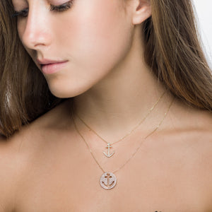 White Gold Diamond Anchor Cut Out Pendant