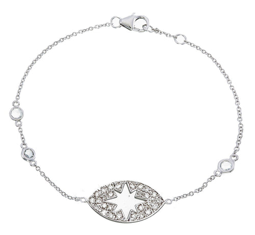 DIAMOND AND SAPPHIRE STARBURST EYE BRACELET