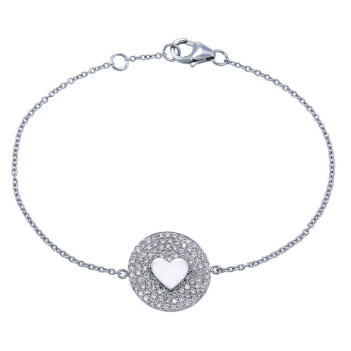 DIAMOND DISC HEART BRACELET