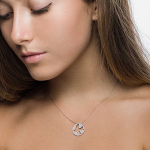 Yellow Gold Diamond Dove Cut Out Pendant