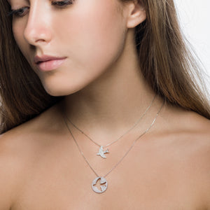 Yellow Gold Diamond Dove Pendant Set