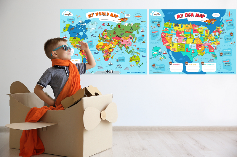 World map usa map poster for kids