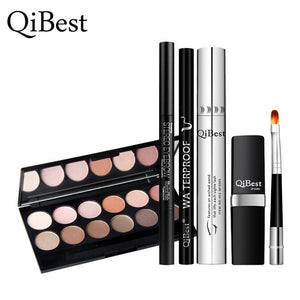 QiBest 6Pcs Makeup Set Maquillaje Paleta Mascara + Eyebrow Pencil + Eyeshadow Plate + Eyeliner Pen + Lipstick Brush  Cosmetics