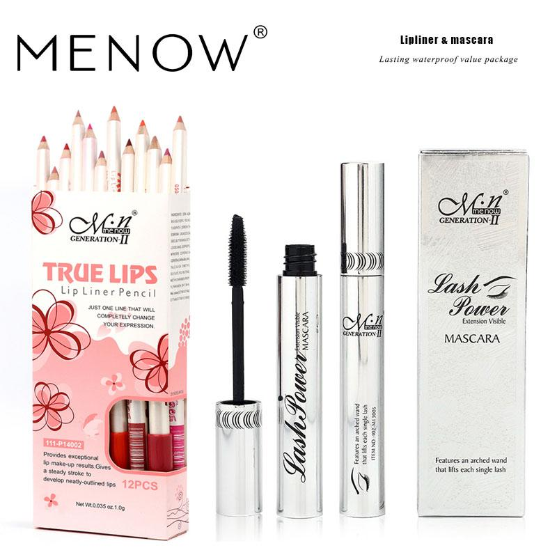 MENOW Brand Make up set Lip Liner&Mascara Lasting Lipliner and Waterproof Thick Mascara Natural Cosmetic drop ship 5321