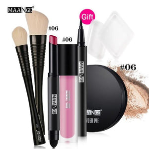 New Natural Fashion  Eye Lip Gloss Shimmer Shadow Shimmer Matte Eyeshadow Makeup Set Cosmetics Set With Brush Eye Makeup Palette