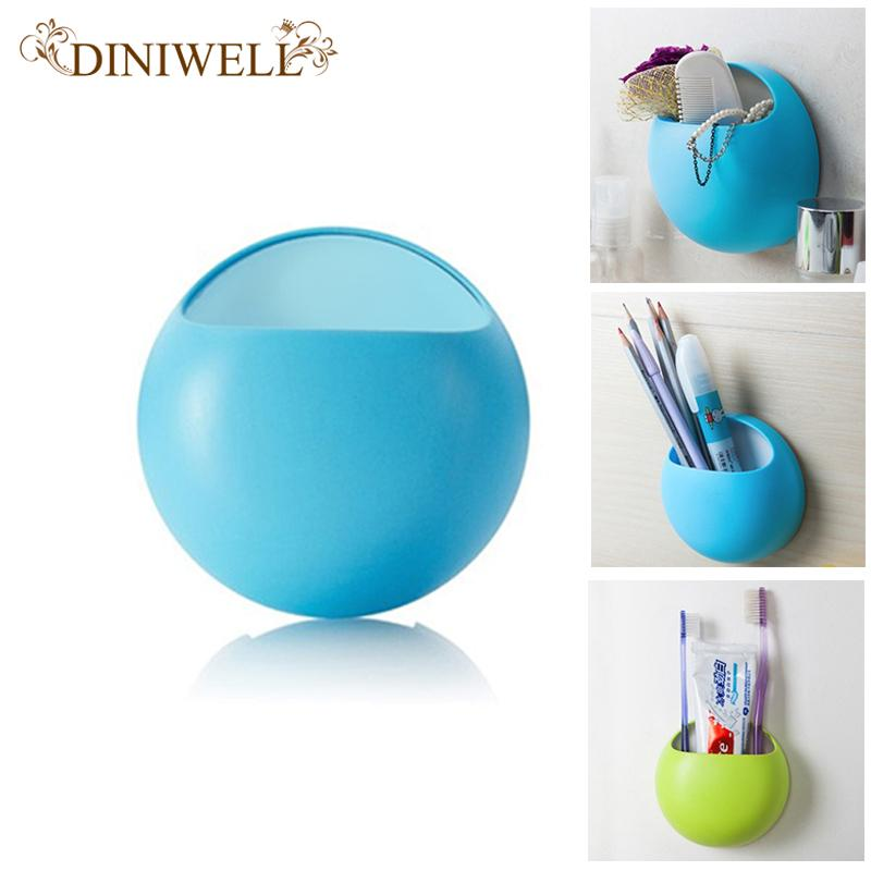 DINIWELL Toothbrush Wall Suction Bathroom Sets Cartoon Sucker Holder  Makeup Brush Holder / Suction Hooks  4 Colors  Available