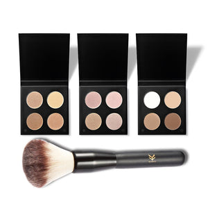 4 Colors Pro Makeup Concealer Face Primer Cream Contour Palette Make Up Facial Contouring Palette +  Face Contour Brush