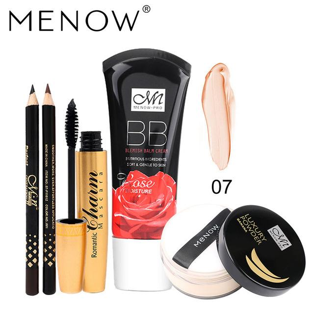 MENOW Brand Wholesale Make up set  Golden tubes thick mascara Set With Gift Two Pencil Banana Oil Loose Powder Rose BB Cream5355