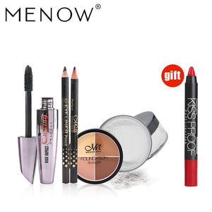 Buy 3 get 1 gift MENOW make up set Breathable powder&4 Color Face Concealer&Mascara Gift Two Pencil &Kiss proof Lipstick 5461