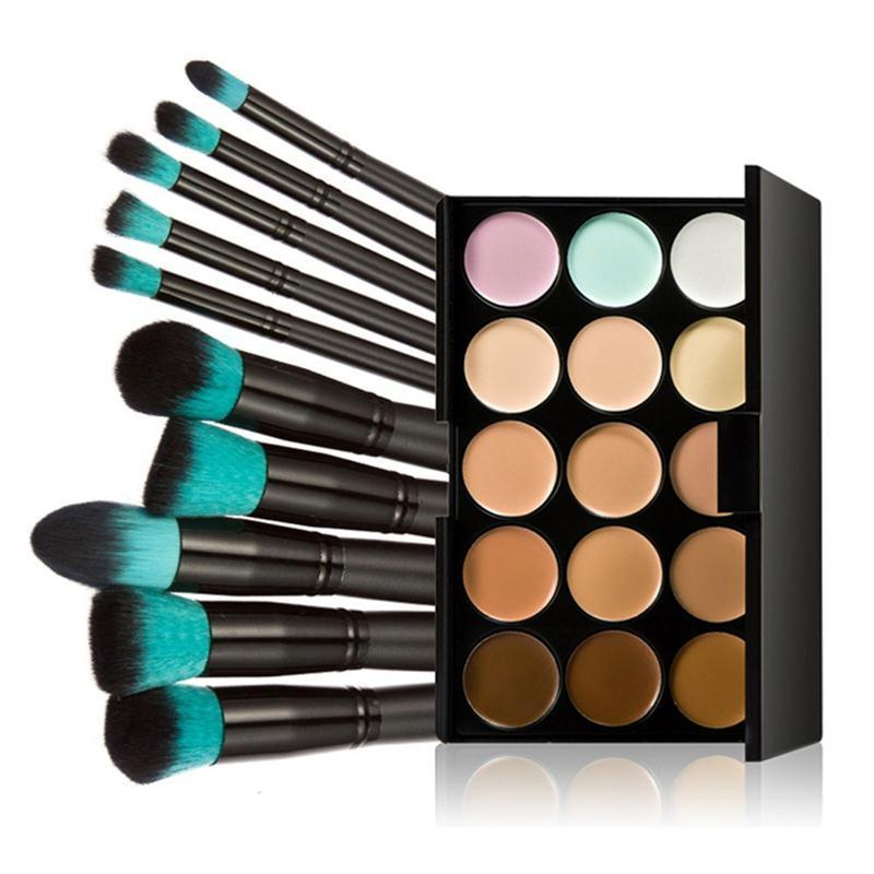 Quality Makeup Set 15 Colors Contour Face Cream Concealer Palette + 10Pcs Eye Lip Make Up Brushes Cosmetic Tools