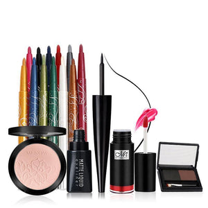 MENOW Brand Make up set  Face Matte Powder &12Color/Set Waterproof Eye shadow Pencil&Waterproof Eyeliner&Eyebrow &Lip gloss 5439