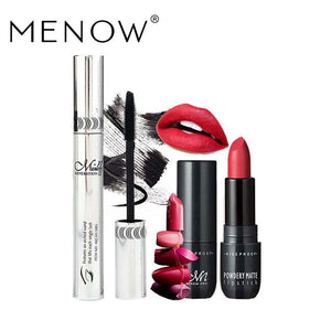 MENOW Brand Make up set Curling Slender Mascara &Waterproof lasting Lipstick Cosmetic combination drop ship 5337