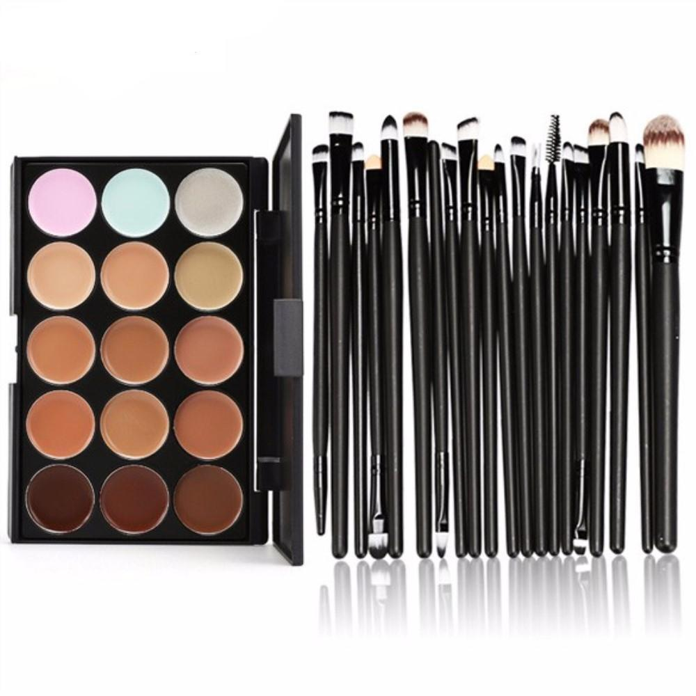 NEW 15 Colors Contour Face Cream Makeup Concealer Palette + 20Pcs Pro Eyebrow Lip Makeup Powder Foundation Brushes Set Maquiagem