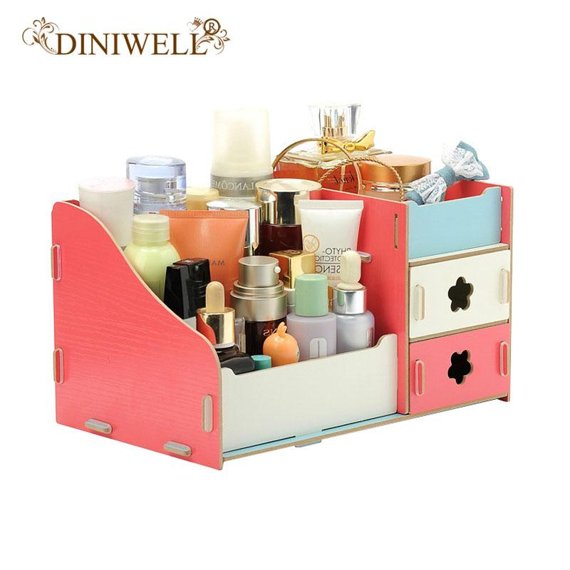 DINIWELL Desktop Makeup Cosmetics Storage Box Wooden DIY Cosmetic Boxes Drawer 3 Layers Office Organizer