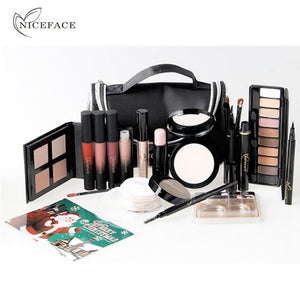 Valentine Gift Fascinating Makeup Kit with Matte Liquid Lipstick Highlighter Eyeshadow False Eyelashes Foundation Brush Set