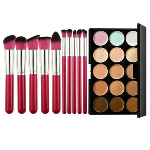 Professional 15 Colors Face Concealer Palette Foundation Cream + 10pcs Makeup Brushes Eyeshadow Foundatin Brush with Bag