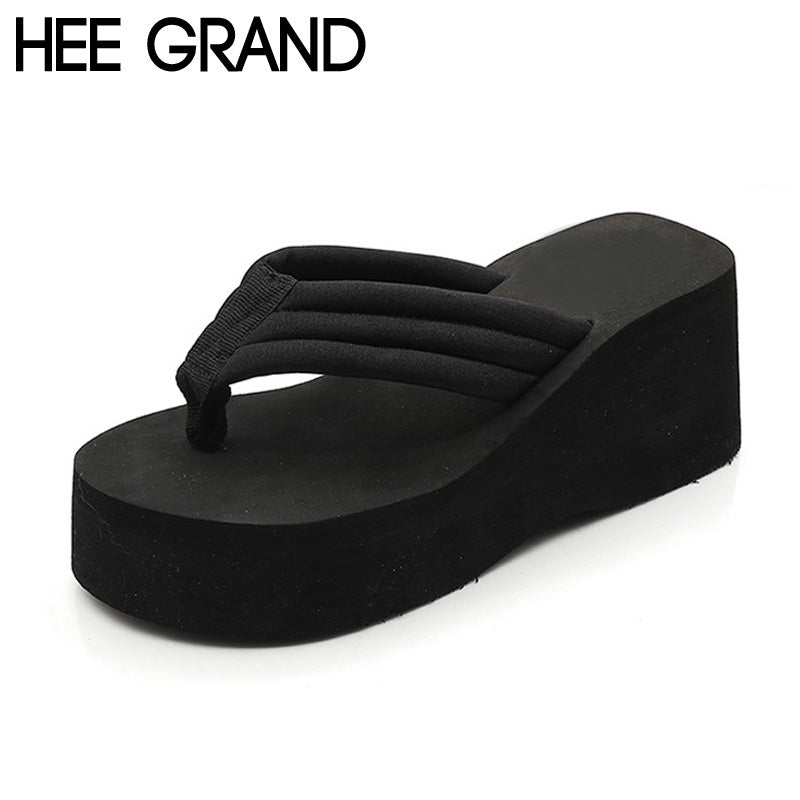 7e9bf026d6f628 HEE GRAND Trifle Flip Flops Women Platform Simple Casual Solid Summer Style Slippers  Thick Botton Beach