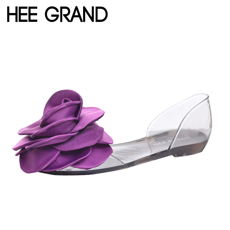 HEE GRAND Jelly Sandals 2017 New Beach Jelly Shoes Woman Hot Summer Sweet  Flower Slip On b00e231a970c