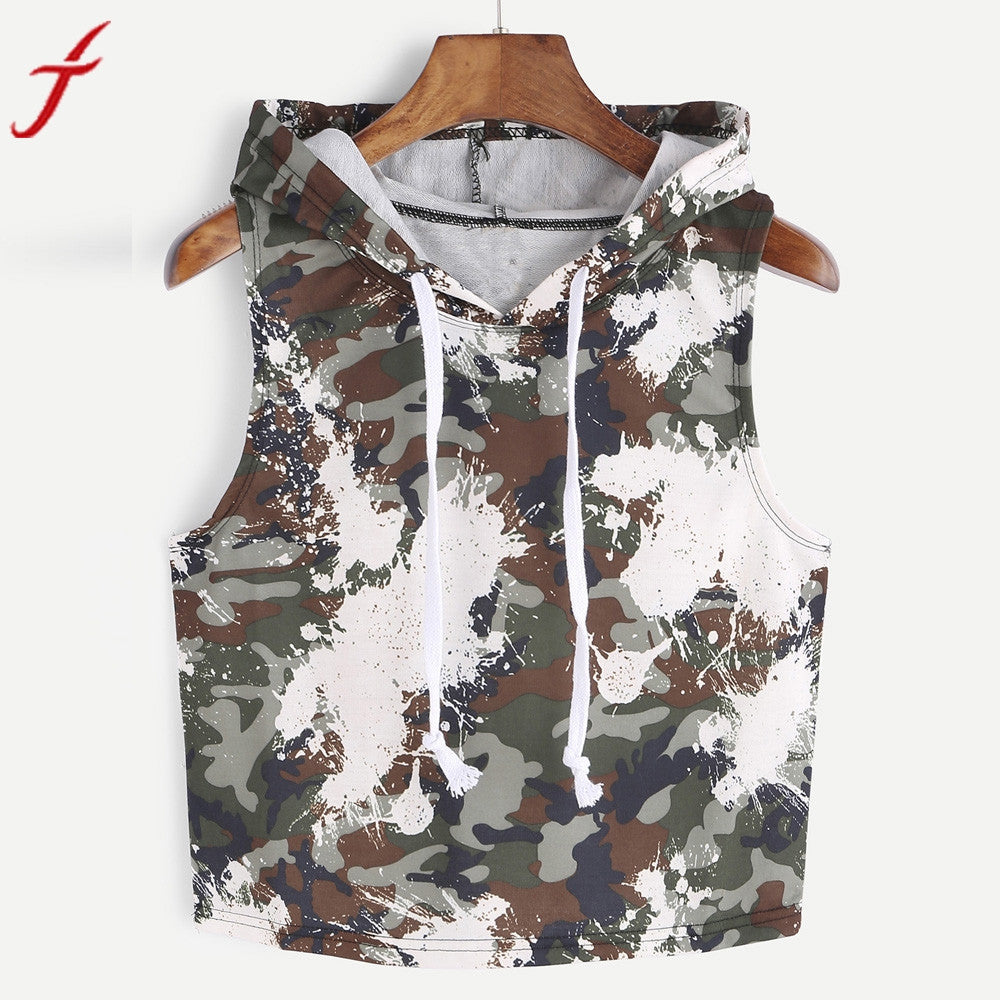 d776fa34754c Camouflage Tank Tops Women 2017 Fashion Sexy Hooded Crop Sleeveless T-Shirt  Tops Army Green