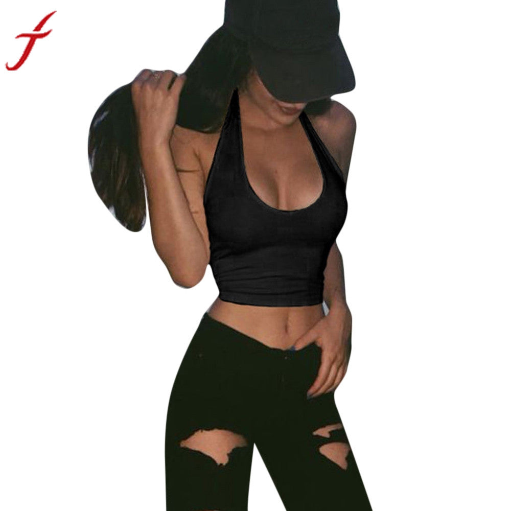 Sexy Womens Casual Slim Sleeveless Tank Cami Vest Crop Top Fitness White  Black Vest 37a7600601