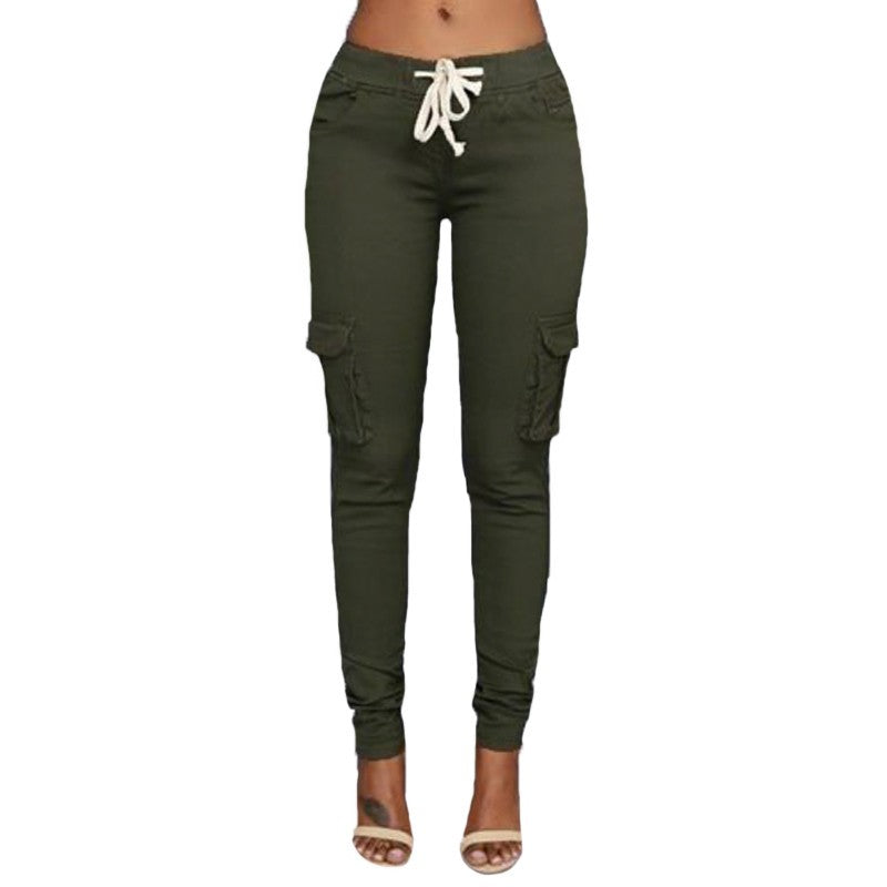 e091c3046f0 2018 Autumn Women Skinny Pants Full Length Pencil Trousers Black Green Khaki  White Capris Plus Size