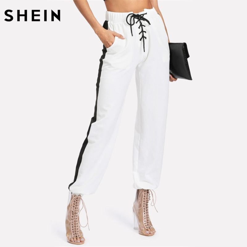 c59749685484 SHEIN Drawstring Waist Women Pants White Striped Mid Waist Trousers Women  Pocket Lace Up Front Contrast
