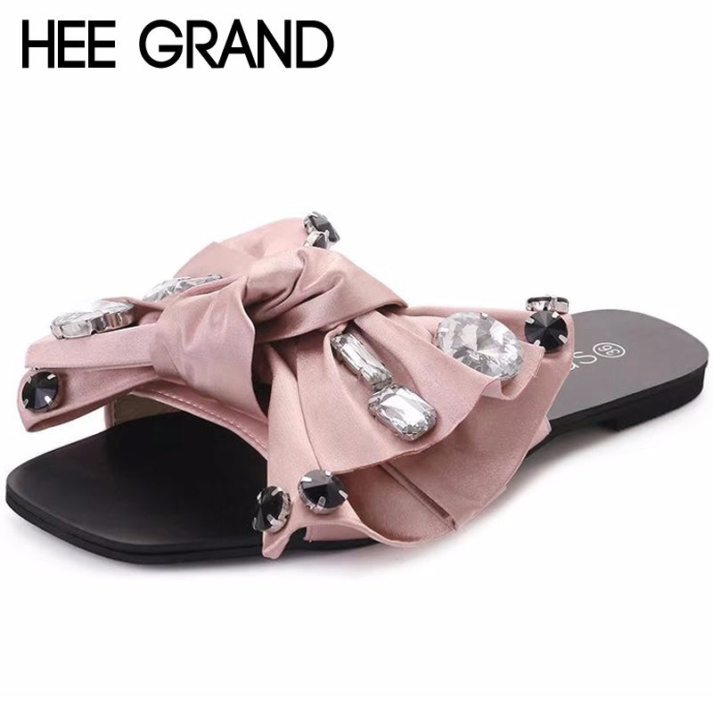 740d16875 HEE GRAND Bling Bling Summer Gladiator Sandals Bowtie Beach Flat Shoes Woman  Slip On Casual Women