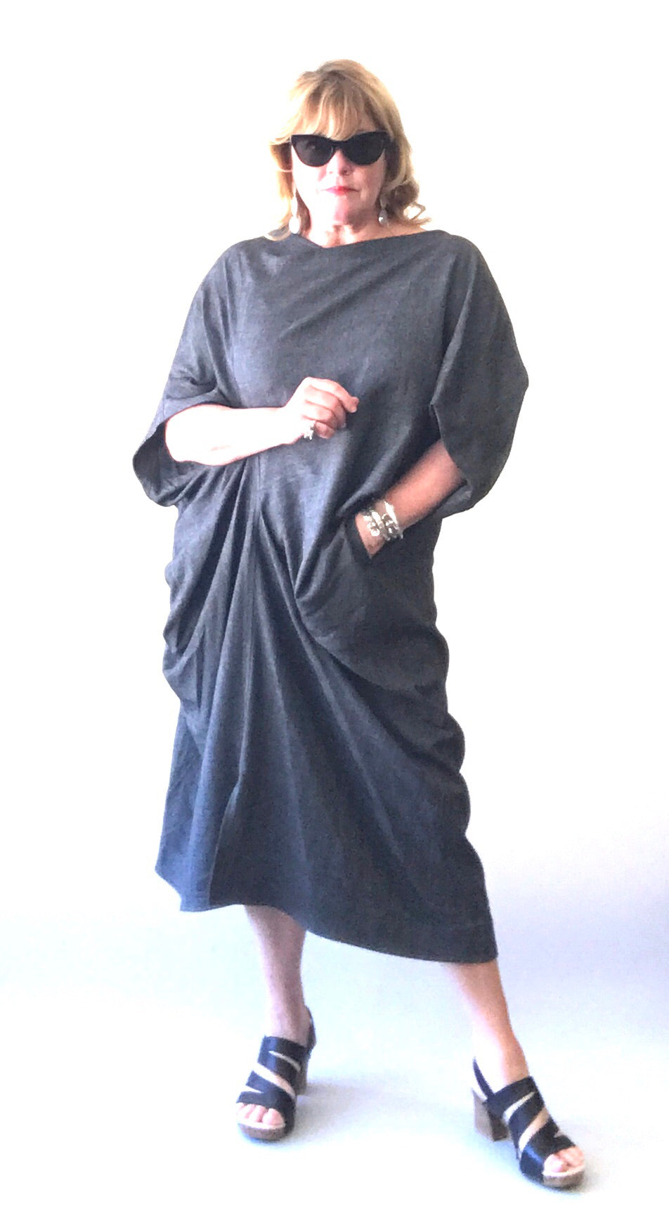 Moruyu Japan Grey Draped Jersey Dress