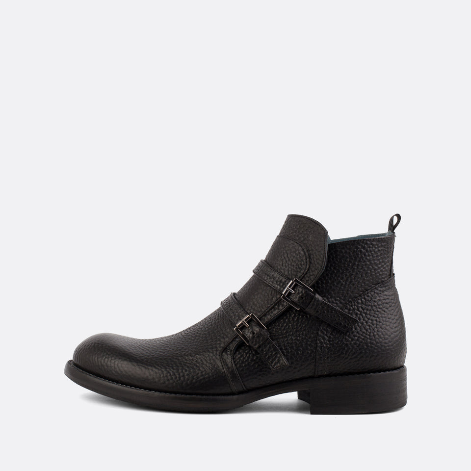 Black Double Monk Ankle Boots